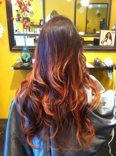 red and copper ombre
