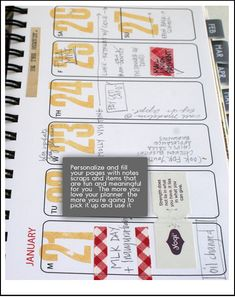 DIY planner; days numbered with room for journaling and artsy bits. {Rebecca Sower}