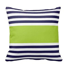 Navy Blue and White With Green Stripe Design Sofa Home Decor Pillow Case Covers....Lime Green And Blue Throw Pillows