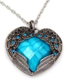 New Large Angel Wings Heart Blue Crystal Pendant Long Chain Necklace SHIP USA   eBay
