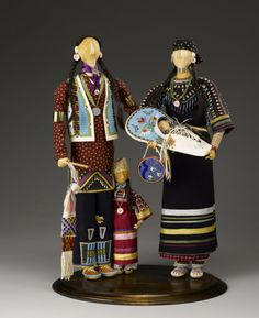 "Jamie Okuma (born 1977, Luiseño/Shoshone-Bannock/Okinawan-Hawaiian),""Blackfeet Family Group,"" 1999. Wood, cloth, glass beads, hair, ribbon, and shell. 22.1010 (Photo by Kiyoshi Togashi)  http://blog.nmai.si.edu/main/2013/07/much-more-than-a-doll-the-artistry-behind-the-grand-procession-exhibition.html"