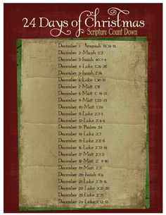 just Sweet and Simple: Christmas Scripture Advent Calendar and Printables