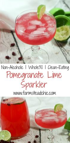 Semi-sweet + a little tart + a lot bubbly, this Non-Alcoholic & Whole30 Pomegranate Lime Sparkler uses fresh fruit juices and sparkling water. #NYE goals!