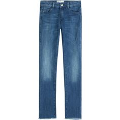 Seafarer Oyster Cropped Jeans ($100) ❤ liked on Polyvore featuring jeans, blue, blue skinny jeans, blue denim jeans, button-fly jeans, denim jeans and straight-leg jeans