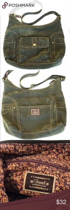 Fossil olive green bag Beautiful olive green Fossil cross body bag, the material looks like corduroy. Big and comfortable for traveling! Fossil Bags Crossbody Bags