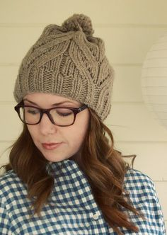 Faux-Cable Beanie. Pattern http://www.ravelry.com/patterns/library/giftie-slouchie-beanie-archived