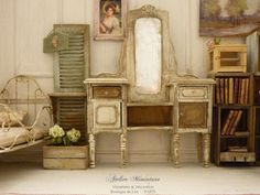 Miniature Chic French Shabby vanity Distressed by AtelierMiniature