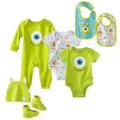 Disney Newborn Boy's Monsters Inc. Green Collection