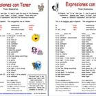 Tener Expressions Reference - 22 expressions alphabetized Spanish to English and English to Spanish