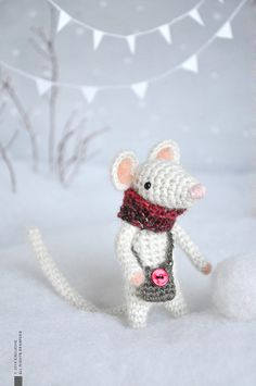 Henry  Little Crocheted Mouse  Plushie  Stuffed toy  by eveluche, $80.00