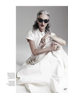 Linda Rodin wore a white dress by Greta Constantine and accessorized it with rings by Effy in Fashion magazine's May 2014 issue.