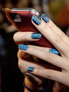 These blue nails were so fun at NYFW! Paint navy, then bust out your nail art brushes and draw some vertical squiggle lines. Get Nails, How To Do Nails, Hair And Nails, Fancy Nails, Blue Nail Designs, Fabulous Nails, Amazing Nails, Beautiful Nail Art, Blue Nails