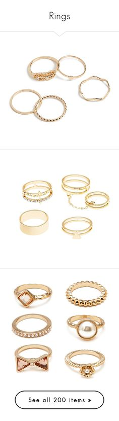 """Rings"" by rosky ❤ liked on Polyvore featuring jewelry, rings, gold, stackable rings, yellow gold jewelry, gold jewelry, yellow gold rings, gold stackable rings, accessories and joias"