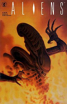 One of the more famous covers from the original comic book series for Aliens in 1989-1990.