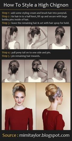 High Chignon Hairstyles Tutorial for Wedding: Bridal Hairstyle #prom hairstyles