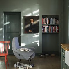 Walls: Castle Gray in Modern Emulsion; woodwork: Green Smoke in Estate Eggshell, Farrow & Ball  When painting woodwork, a good rule of thumb is to go for darker tones for a smart, contemporary look.