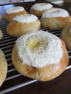 "Norwegian ""School Bread"" with Cardamom, vanilla pudding and coconut"