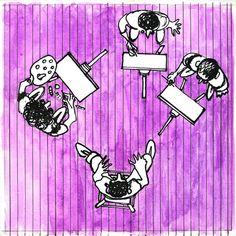 Pintores en el Taller : autor: Ramiro Quesada  técnica: tinta y acuarela liquida    dimensiones: 15,8 cm x 15,8 cm    inspirado  en la obra de José Bermúdez del mismo nombre | quesadaramiro