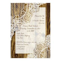 Rustic white lace on wood wedding couples shower 5x7 paper invitation card
