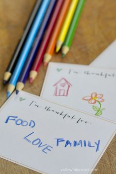 "Free Printable ""I'm Thankful For"" cards"