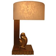 Art Deco table lamp *bronze and glass lampshade* good condition, new wiring. French circa 1930