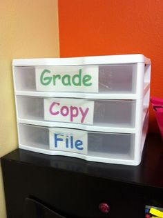 Conquer that pile of papers on your desk with a plastic bin, divided into three categories. | 29 Clever Organization Hacks For Elementary School Teachers