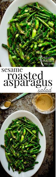 This sesame roasted asparagus salad is a cinch to whip together. Roasting asparagus is super easy, and it makes a perfect base for flavorful sesame salad dressing.