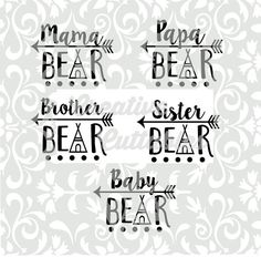 SVG Arrow Mama Bear Papa Baby for Silhouette or other craft cutters… Papa Baby, Craft Cutter, Mamas And Papas, Silhouette Machine, Silhouette Cameo Projects, Cricut Creations, Vinyl Projects, Heat Transfer Vinyl, Cricut Design