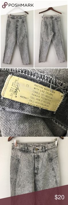 """Vintage High Waisted Chic Grey Stone Acid Jeans Vintage High Waisted Chic Grey Stone Acid Jeans. Marked as a size 11, fit like a modern size 8 (measurements below).   •Fabric: 99% Cotton 1% Stretch  •Waist: 28""""  •Inseam: 28.5""""  •Condition: Excellent, no visible wear on hems. Like spotting on the top left on the waist band (could be possibly spot bleached on).   ⭐️25% off all Bundles or 3+ items! Reasonable offers welcome. Visit me on INSTA📸 @reupfashions. IB Vintage Jeans Straight Leg"""