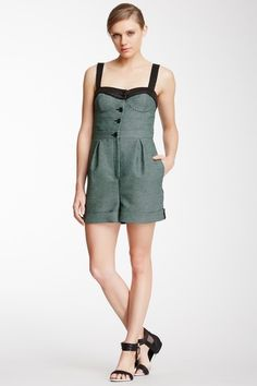 Woven Trim Printed Front Romper by M Missoni on @HauteLook