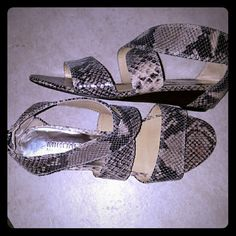 Michael Michael Kors Snake Skin Leather Sandals GREAT Condition used sandals. A little damage in left  sandal. . Not noticeable when wearing them... MICHAEL Michael Kors Shoes Sandals