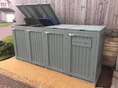 Bin shed with parcel drop. Style not appropriate for our house but adding a parcel drop could be a good idea. Bin shed with parcel drop. Style not appropriate for our house but adding a parcel drop could be a good idea. Garbage Storage, Shed Storage, Storage Bins, Bin Storage Ideas Wheelie, Recycling Bin Storage, This Old House, Up House, House Front, Outside Storage