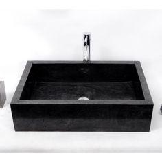 diseño de lavabo de mármol Negro Backed Simon, forma rectangular