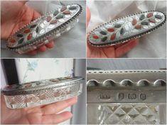 Antique EDWARDIAN 1904 Sterling SILVER Scottish AGATE Cut Glass Trinket Box Dish  | eBay