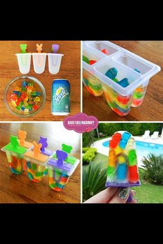Gummy bear Popsicles using sprite and gummy bears!