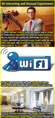 "1. When Michael Crichton (American author) was in college, he conducted an experiment to expose an English professor who he believed was giving him abnormally low marks. Crichton submitted an essay by George Orwell under his own name. The paper was returned by his unwitting professor with a mark of ""B−"". 2. Wi-Fi was developed by using technology from a failed experiment attempting to detect mini black holes."