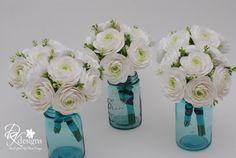 Substitute White Hydrangeas in Blue Mason Jars