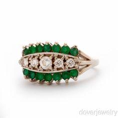 Vintage  Diamond 0.80ct Emerald 14K Gold Band Ring NR