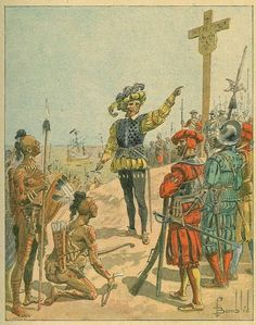 """Jacques Cartier takes possession of Canada for France, 1534 - """"Cartier points to the arms of France on the cross during a ceremony taking possession of Canada for France. Men-at-arms were with the early explorers. Print after Louis-Charles Bombled."""""""