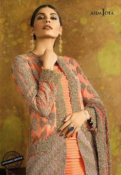 Latest Pakistani Fancy Collection By Asim jofa - Women Club, Beauty Health Fashion New Designer Dresses, Designer Clothing, Dress For You, New Dress, Pakistani Fancy Dresses, Party Wear, Sari, Stylish, How To Wear