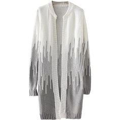 Womens Loose Beaded Color Block Long Sleeve Cardigan Sweater Gray ($29) ❤ liked on Polyvore featuring tops, cardigans, patterned cardigans, print cardigan, grey cardigan, long sleeve cardigan and color block tops