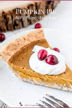 AIP Pumpkin Pie (Paleo, Nut-free) - Thriving On Paleo Paleo Dessert, Gluten Free Desserts, Dessert Recipes, Paleo Sweets, Best Paleo Recipes, Paleo Ideas, Free Recipes, Pumpkin Pudding, Pumpkin Pie Recipes