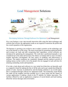Lead Management Solutions - Developing Solutions Through Software For Optimized Lead Management.