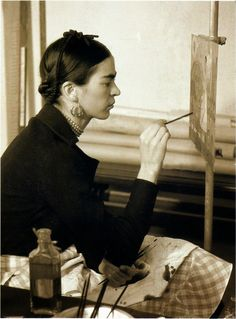 "Frida Kahlo painting ""Self-portrait on the border of Mexico and the United States"" 