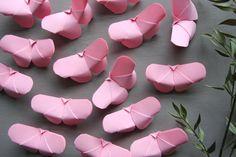 Papillon Rose Origami lot 20 Décoration Fourniture Mariage Décor Thème Ornement Anniversaire Fille Baby shower candy bar