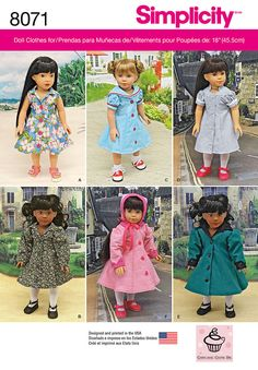 "8071 Vintage inspired 18"" doll clothes feature flared button front coats and dresses. Coats can have contrast collar and sleeve band. Dresses have trim options. Bonnet included in pattern. Cupcake Cutie Pie for Simplicity."