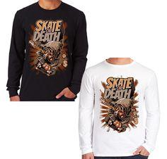 Velocitee Mens Long Sleeve T Shirt Skate Or Death Skateboard Skateboarder V103 #Velocitee