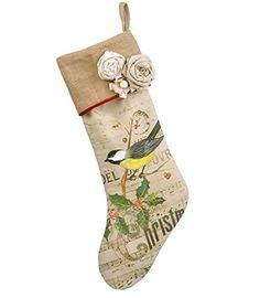 Burlap Finch Grasslands Road Christmas Song Stocking 18 x 10 Inch Bird Grasslands Road http://www.amazon.com/dp/B00QKW9NLE/ref=cm_sw_r_pi_dp_L.Bdvb1PMB8N6