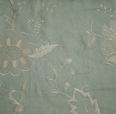 Jacobean Embroidered Linen Fabric Aqua linen with a beautiful ivory floral embroidery