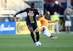 October 30 2011:Danny Mwanga (10) of the Philadelphia Union on the end of a flying tackle by Luiz Camargo (17) of the Houston Dynamo during an MLS quarter-final playoff match at PPL Park in Chester, Pennsylvania. Houston won 2-1.Soccer 2011   Do not miss next goal!!! All scores at one place. - http://www.everygoal.net/